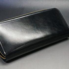 ホーウィン社製シェルコードバンのブラック色のラウンドファスナー長財布(ゴールド色)-1-8