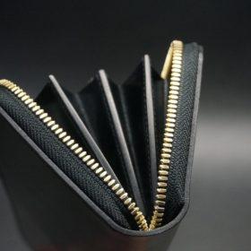 ホーウィン社製シェルコードバンのブラック色のラウンドファスナー長財布(ゴールド色)-1-9