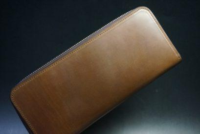 ホーウィン社製シェルコードバンのバーボン色のラウンドファスナー長財布(シルバー色)-3-1