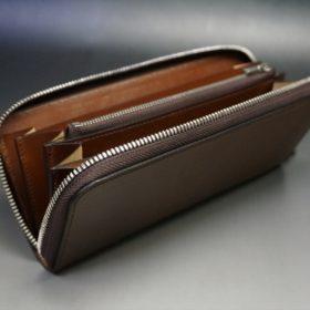 ホーウィン社製シェルコードバンのバーボン色のラウンドファスナー長財布(シルバー色)-3-10