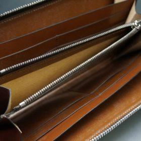 ホーウィン社製シェルコードバンのバーボン色のラウンドファスナー長財布(シルバー色)-3-13
