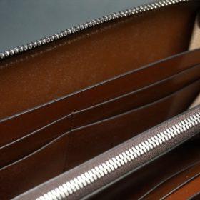 ホーウィン社製シェルコードバンのバーボン色のラウンドファスナー長財布(シルバー色)-3-14