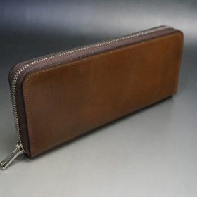 ホーウィン社製シェルコードバンのバーボン色のラウンドファスナー長財布(シルバー色)-3-2