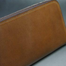 ホーウィン社製シェルコードバンのバーボン色のラウンドファスナー長財布(シルバー色)-3-3