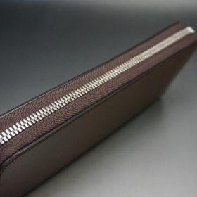 ホーウィン社製シェルコードバンのバーボン色のラウンドファスナー長財布(シルバー色)-3-4