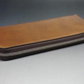 ホーウィン社製シェルコードバンのバーボン色のラウンドファスナー長財布(シルバー色)-3-6