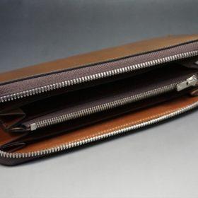 ホーウィン社製シェルコードバンのバーボン色のラウンドファスナー長財布(シルバー色)-3-7
