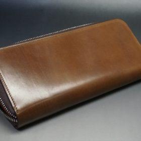 ホーウィン社製シェルコードバンのバーボン色のラウンドファスナー長財布(シルバー色)-3-8
