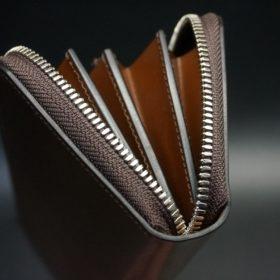 ホーウィン社製シェルコードバンのバーボン色のラウンドファスナー長財布(シルバー色)-3-9