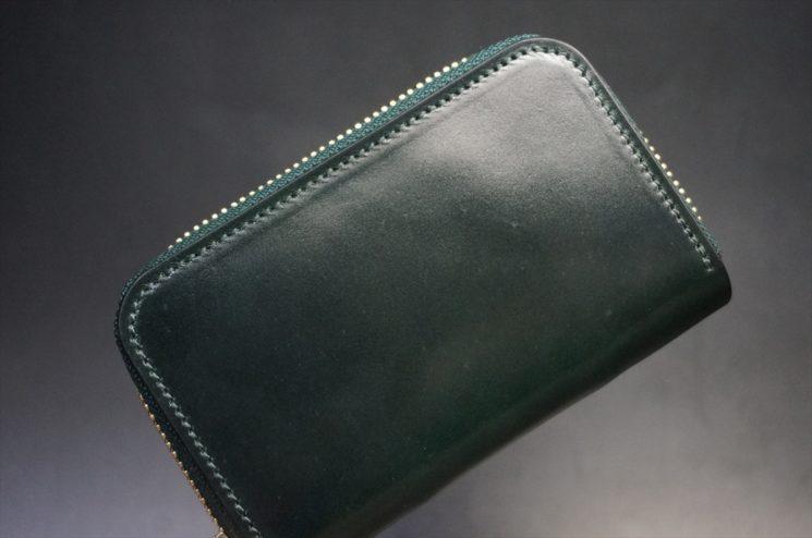 ホーウィン社製シェルコードバンのグリーン色のラウンドファスナー小銭入れ(ゴールド色)-1-1