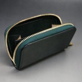 ホーウィン社製シェルコードバンのグリーン色のラウンドファスナー小銭入れ(ゴールド色)-1-10