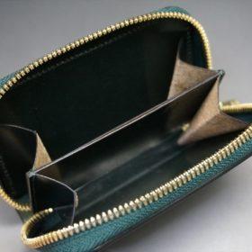 ホーウィン社製シェルコードバンのグリーン色のラウンドファスナー小銭入れ(ゴールド色)-1-11