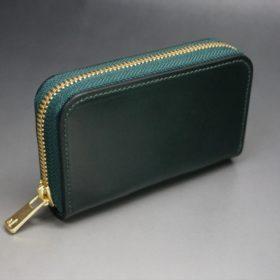 ホーウィン社製シェルコードバンのグリーン色のラウンドファスナー小銭入れ(ゴールド色)-1-2