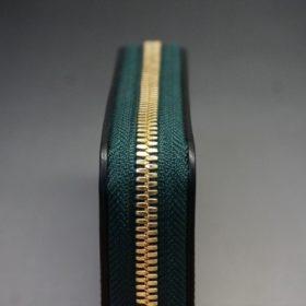 ホーウィン社製シェルコードバンのグリーン色のラウンドファスナー小銭入れ(ゴールド色)-1-5