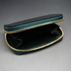 ホーウィン社製シェルコードバンのグリーン色のラウンドファスナー小銭入れ(ゴールド色)-1-7