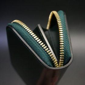 ホーウィン社製シェルコードバンのグリーン色のラウンドファスナー小銭入れ(ゴールド色)-1-9