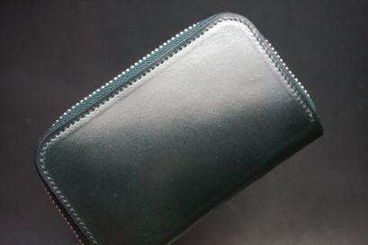 ホーウィン社製シェルコードバンのグリーン色のラウンドファスナー小銭入れ(シルバー色)-1-1