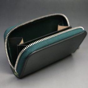 ホーウィン社製シェルコードバンのグリーン色のラウンドファスナー小銭入れ(シルバー色)-1-10