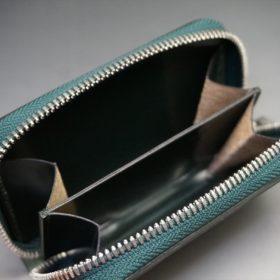 ホーウィン社製シェルコードバンのグリーン色のラウンドファスナー小銭入れ(シルバー色)-1-11
