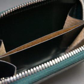 ホーウィン社製シェルコードバンのグリーン色のラウンドファスナー小銭入れ(シルバー色)-1-12