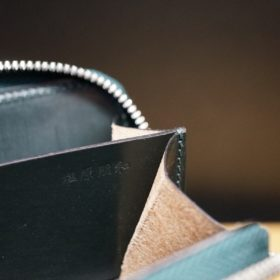 ホーウィン社製シェルコードバンのグリーン色のラウンドファスナー小銭入れ(シルバー色)-1-13
