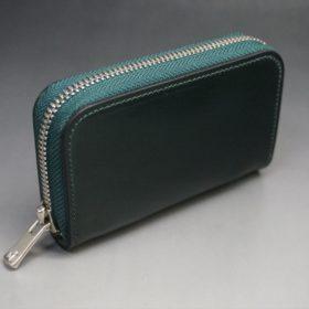 ホーウィン社製シェルコードバンのグリーン色のラウンドファスナー小銭入れ(シルバー色)-1-2