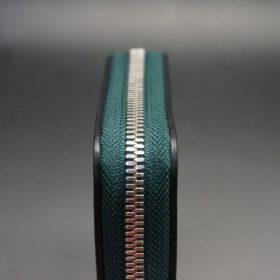 ホーウィン社製シェルコードバンのグリーン色のラウンドファスナー小銭入れ(シルバー色)-1-5
