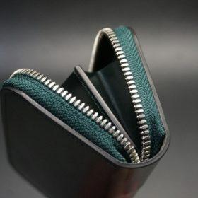 ホーウィン社製シェルコードバンのグリーン色のラウンドファスナー小銭入れ(シルバー色)-1-9