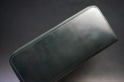 ホーウィン社製シェルコードバンのグリーン色のラウンドファスナー長財布(ゴールド色)-1-1