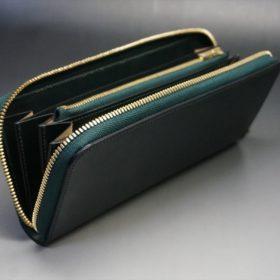 ホーウィン社製シェルコードバンのグリーン色のラウンドファスナー長財布(ゴールド色)-1-10