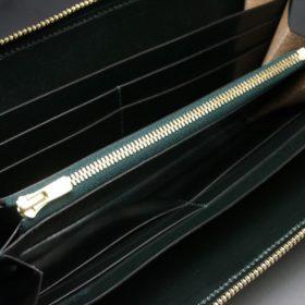 ホーウィン社製シェルコードバンのグリーン色のラウンドファスナー長財布(ゴールド色)-1-11