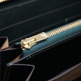 ホーウィン社製シェルコードバンのグリーン色のラウンドファスナー長財布(ゴールド色)-1-12