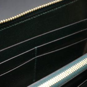ホーウィン社製シェルコードバンのグリーン色のラウンドファスナー長財布(ゴールド色)-1-14