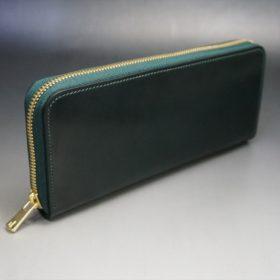 ホーウィン社製シェルコードバンのグリーン色のラウンドファスナー長財布(ゴールド色)-1-2