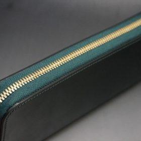 ホーウィン社製シェルコードバンのグリーン色のラウンドファスナー長財布(ゴールド色)-1-4