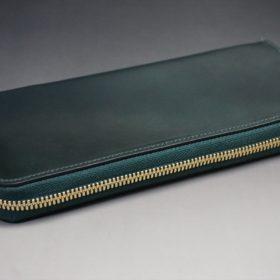 ホーウィン社製シェルコードバンのグリーン色のラウンドファスナー長財布(ゴールド色)-1-6