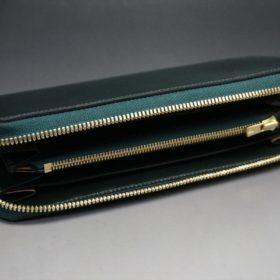 ホーウィン社製シェルコードバンのグリーン色のラウンドファスナー長財布(ゴールド色)-1-7