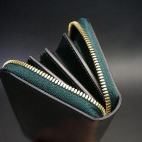 ホーウィン社製シェルコードバンのグリーン色のラウンドファスナー長財布(ゴールド色)-1-9