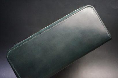 ホーウィン社製シェルコードバンのグリーン色のラウンドファスナー長財布(シルバー色)-1-1