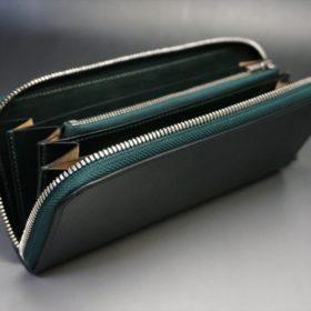 ホーウィン社製シェルコードバンのグリーン色のラウンドファスナー長財布(シルバー色)-1-10