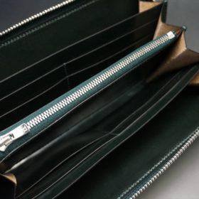 ホーウィン社製シェルコードバンのグリーン色のラウンドファスナー長財布(シルバー色)-1-11