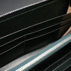 ホーウィン社製シェルコードバンのグリーン色のラウンドファスナー長財布(シルバー色)-1-14