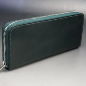 ホーウィン社製シェルコードバンのグリーン色のラウンドファスナー長財布(シルバー色)-1-2