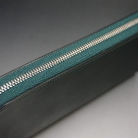 ホーウィン社製シェルコードバンのグリーン色のラウンドファスナー長財布(シルバー色)-1-4