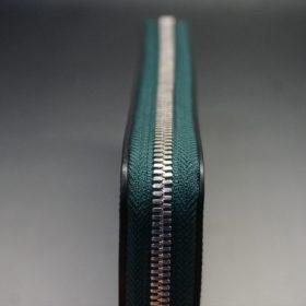 ホーウィン社製シェルコードバンのグリーン色のラウンドファスナー長財布(シルバー色)-1-5