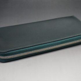 ホーウィン社製シェルコードバンのグリーン色のラウンドファスナー長財布(シルバー色)-1-6