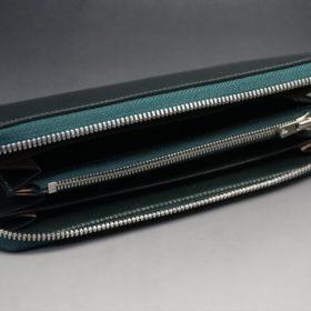 ホーウィン社製シェルコードバンのグリーン色のラウンドファスナー長財布(シルバー色)-1-7