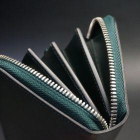 ホーウィン社製シェルコードバンのグリーン色のラウンドファスナー長財布(シルバー色)-1-9