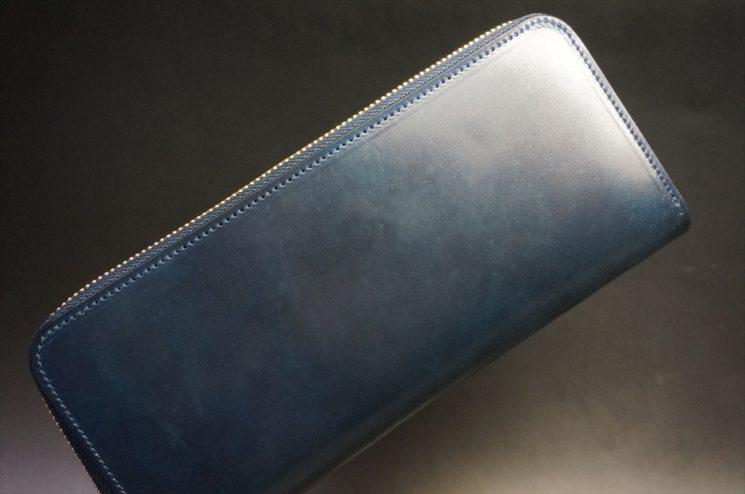 ホーウィン社製シェルコードバンのネイビー色のラウンドファスナー長財布(ゴールド色)-1-1