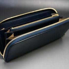 ホーウィン社製シェルコードバンのネイビー色のラウンドファスナー長財布(ゴールド色)-1-10